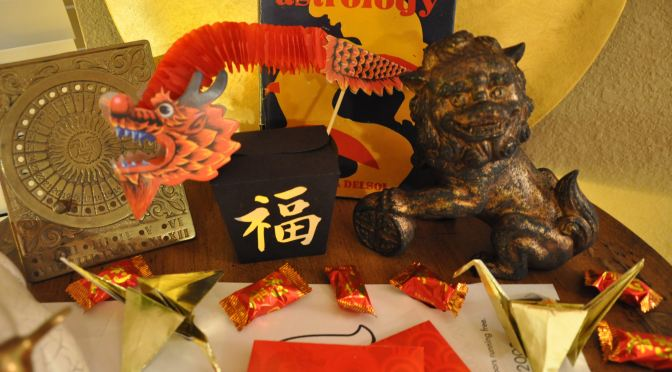 Take-Out Favor Box & Paper Lantern Craft Printable + Bamboo Lantern + Paint to Antique a Lion Fú-Dog (DIY Chinese New Year Party Décor Crafts)