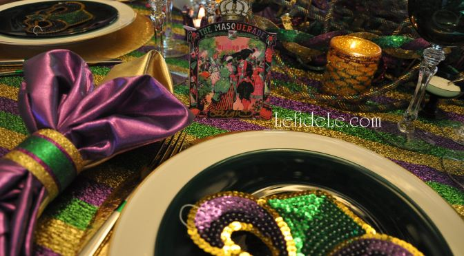 DIY Fast & Easy Mardi Gras Glittered Napkin Rings Craft Tutorial (+ Ribbon Votives, Centerpiece, Free Place-card & Invitation Printables)