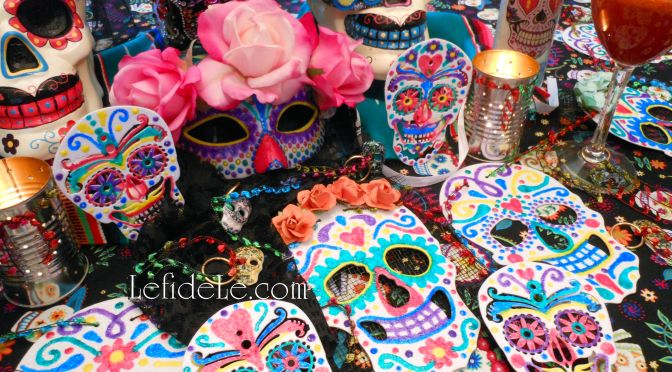 DIY Calaveras de Azucar (Sugar Skulls) Napkin Rings, Wine Glass Charms, & Vase Craft Tutorial for Dia de los Muertos (Day of the Dead) Themed Halloween Dinner Party Décor
