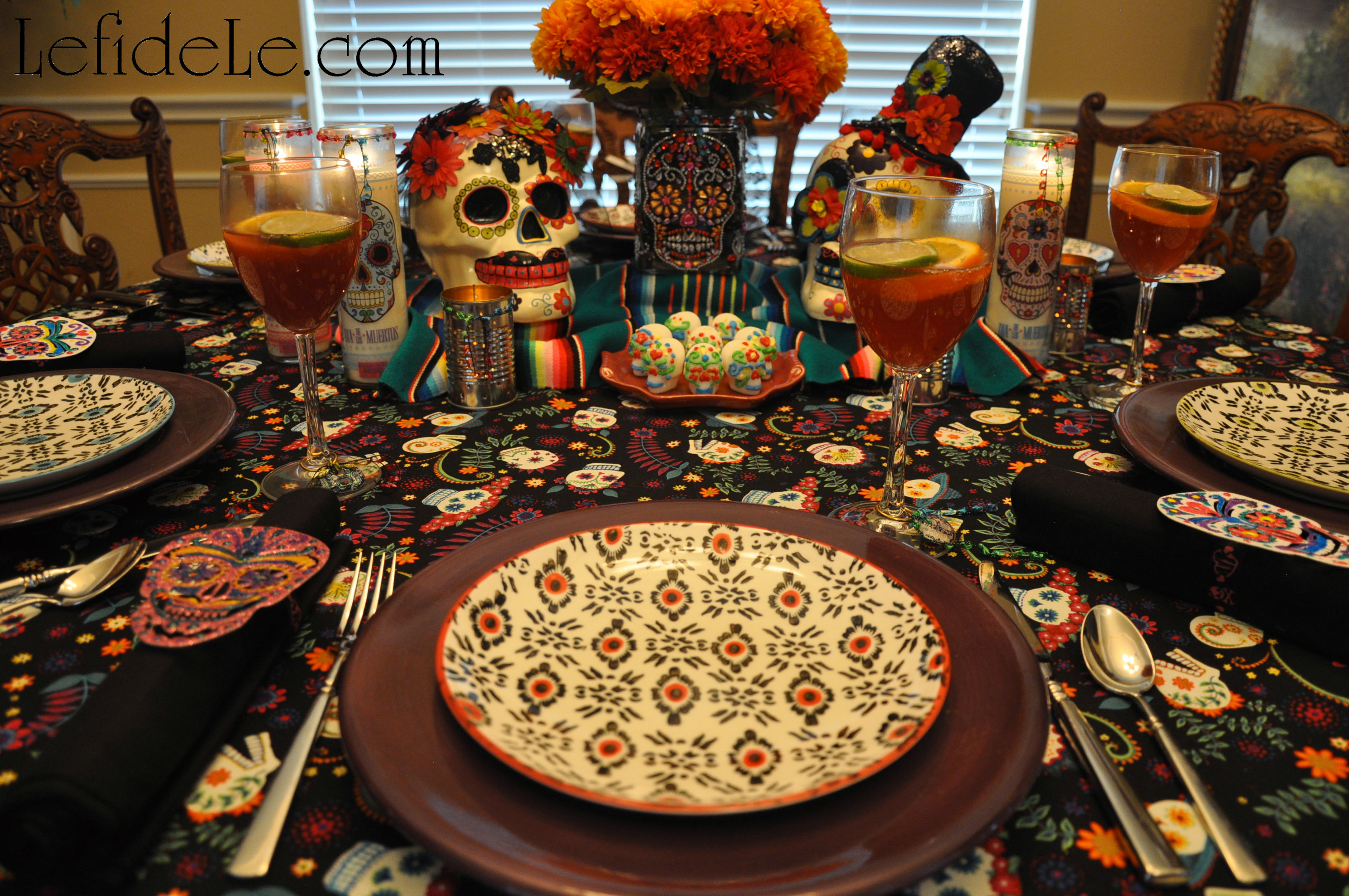 Exotically painted salad plates sit atop solid purple dishes to evoking the brightly embroidered dresses of Mexico. (Purchase the salad plates from Le ... & Dia de los Muertos (Day of the Dead) Themed Halloween Dinner Party ...