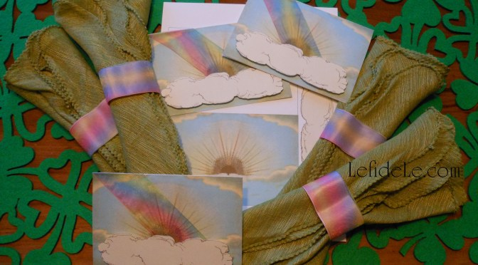 Easy DIY Rainbow Napkin Rings Tutorial & Free Sky Printable Card / Invitation Craft for All Occasions Including Parties & St. Patrick's Day
