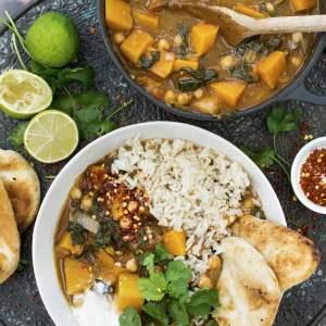 Curry de courge butternut et d'épinards [vegan] © Le Flexitarien
