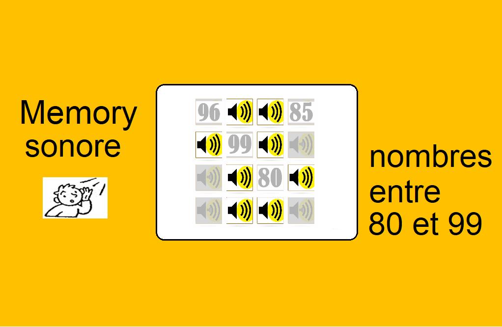 Memory sonore – nombres entre 80 et 99