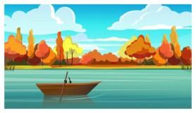 une barque sur un lac