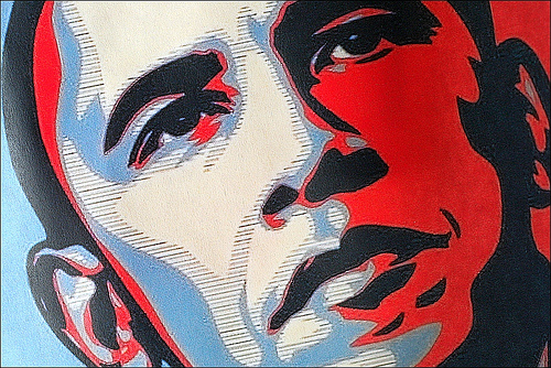 Barack Obama poster - photo by Rupert Ganzer