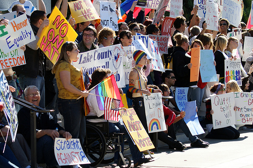 Prop. 8 Protest Sacramento Capitol Building Steps - photo by Fritz Liess