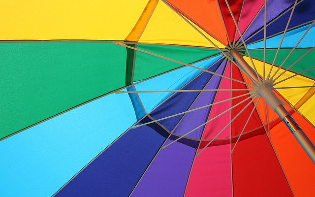 Rainbow umbrella - photo by slyvar