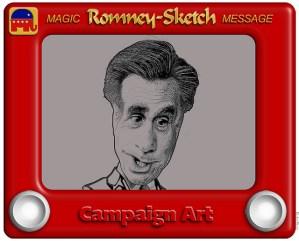 Romney-Sketch Cartoon - image by DonkeyHotey