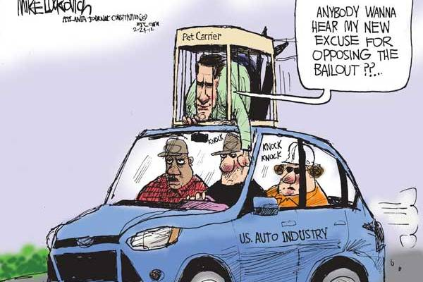 Mike Luckovich cartoon - Auto industry bailout