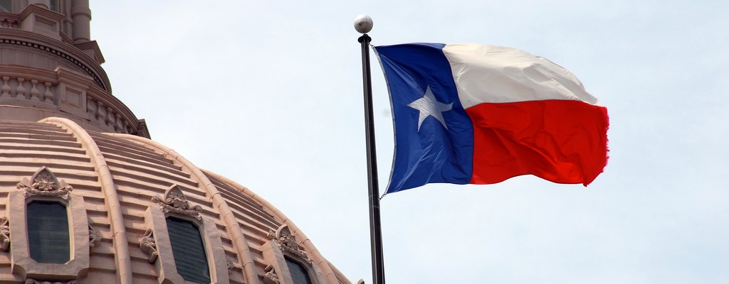 Texas flag on capitol dome