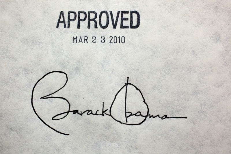 Obama healthcare signature