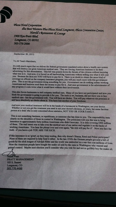 Susan pratt colorado hotel employee letter