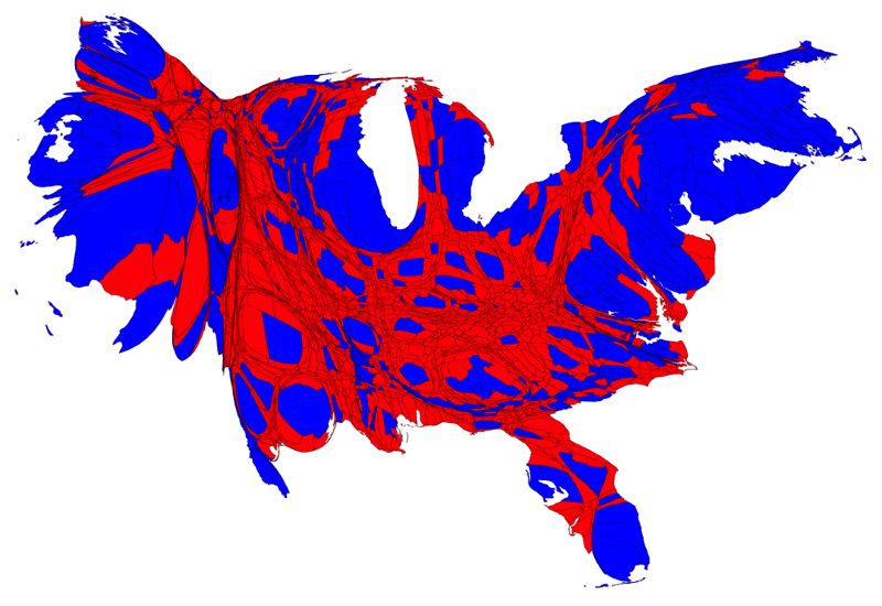 America cartogram county red blue population