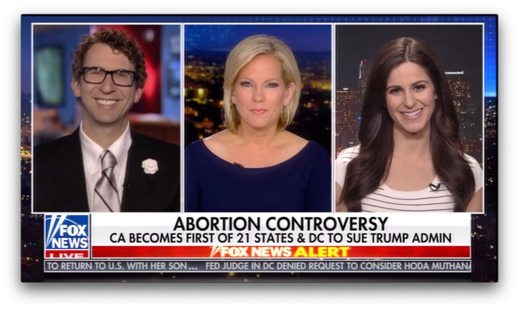 Screenshot from Fox News @ Night. L to R: Ethan Bearman, Shannon Bream, Lila Rose