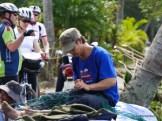 Mending fishing nets