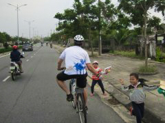 Kids 'high five' as we rode by.