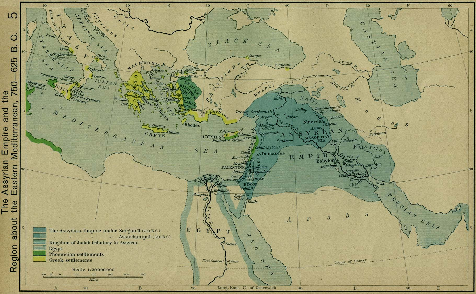 Historical Atlas by William R  Shepherd   Perry Casta    eda Map     The Assyrian Empire and the Region about the Eastern Mediterranean  750 625  B C