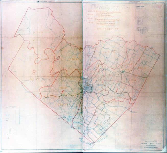 Texas Cities Historical Maps   Perry Casta    eda Map Collection   UT         Austin   Travis County 1930 Census Enumeration District Map   Color  Overview