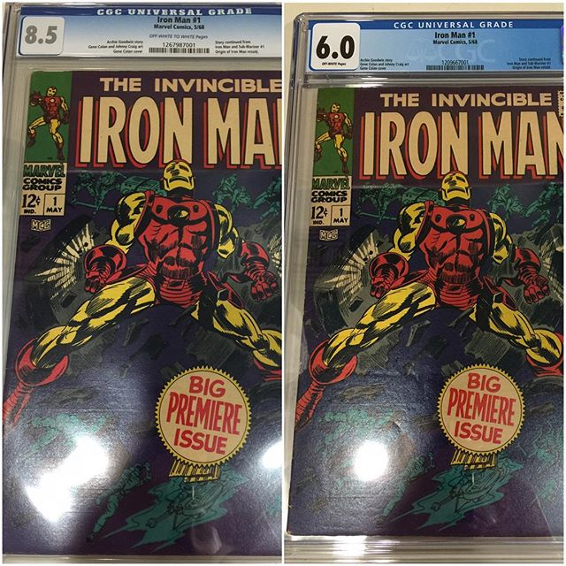 Just in from #cgc #ironman #1 universal 6.0 & 8.5!