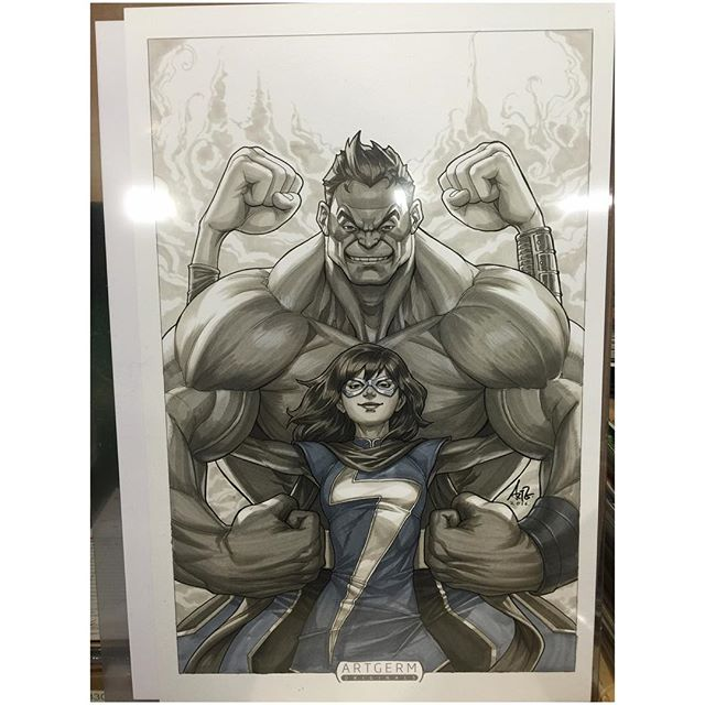Purchased the original artwork for our newest Legacy Edition cover for Champions #1!  #legacyedition #artgerm #marvelcomics #totallyawesomehulk #msmarvel #champions