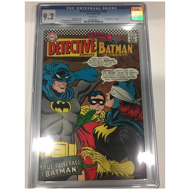 A very nice copy of the 2nd appearance of the new #batgirl came in. #detectivecomics #whitepages #cgc #batman