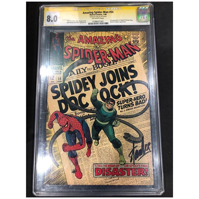 Just walked in the door!  Stan Lee signed Amazing Spider-Man #56 CGC 8.0 signature series. 1st appearance of Captain Stacy. For sale. Please DM is if interested. #cgc #cgcsignatureseries #amazingspiderman #igcomics #igcomicfamily #spiderman #stanlee