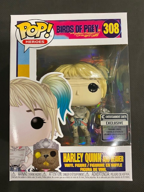 Funko Pop Birds Of Prey Harley Quinn With Beaver Ee Exclusive Figure With Collectible Card