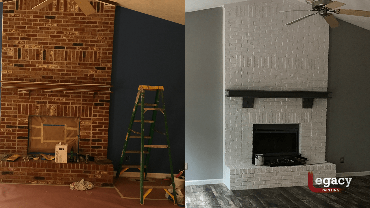 interior painting chimney before and after