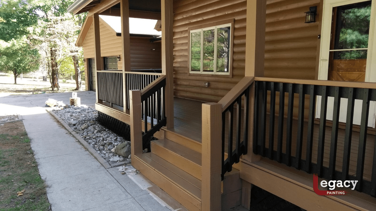 log home and deck staining