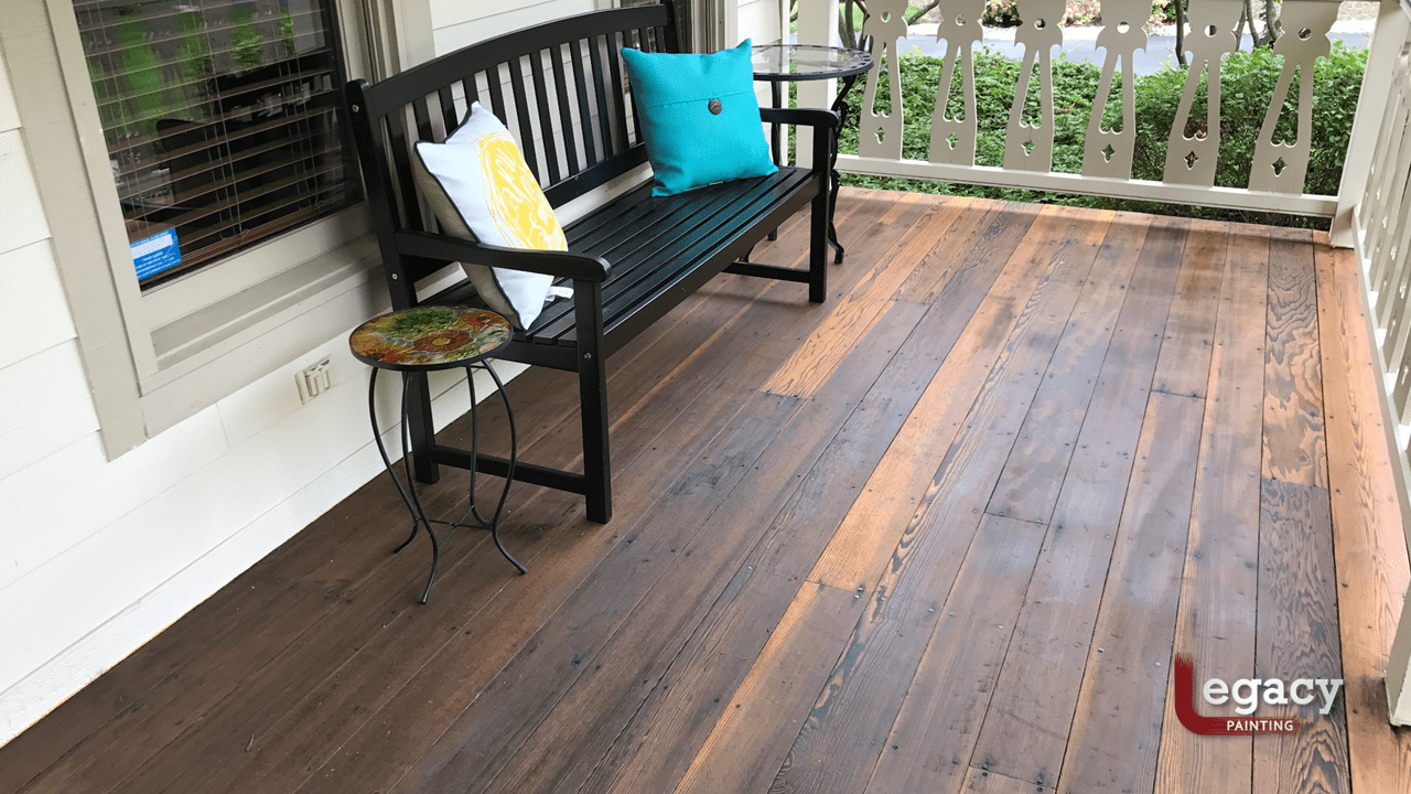 redwood deck staining
