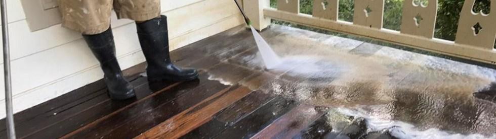deck prepping power wash