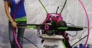 Blannie Wagner stands next to her new sponsored Parajet paramotor