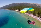Skydiving Lake Tahoe with the american flag for 4th of july, harry parker photography