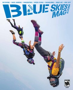 Blue Skies Magazine i95: November 2017   Front to back: LO Nancy Koreen, Robert Brinkley in his amazing space suit, and the talented Daniela Espinel during the Lost Prairie Boogie hosted by Meadow Peak Skydiving in Marion, Montana. Photo by Javier 'Buzz' Ortiz www.jophotovideo.com   https://blueskiesmag.com/project/i95-november-2017