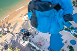 Alex and Chuma getting line stretch, Tandem BASE. - Team ILL Vision hosts the Acapulco BASE Boogie off the La Palapa hotel - Promoting tourism through Low Altitude Parachute Deployment Demonstration Jumping - Harry Parker Photography - Reflecting the best of your business, product, self.