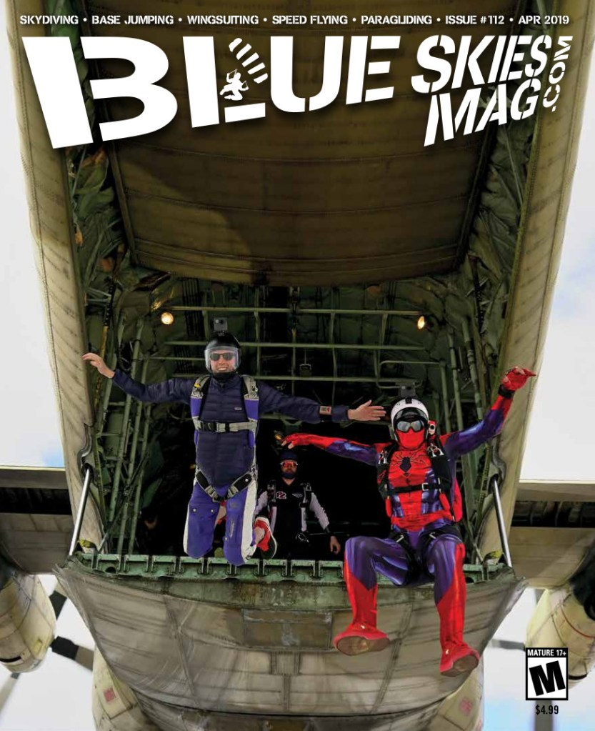 "[Three skydivers jump out of a tailgate plane.] Blue Skies Magazine i112: April 2019 | Matt Park (left), Jamie Barajas (in Spiderman costume) and Ole Christiansen (at the back) exit a C-130 above the pyramids at Giza, Egypt, during the ""Jump Like a Pharaoh Vol.2"" boogie, hosted by Skydive Egypt. Photo by Ioannis Vlachiotis."