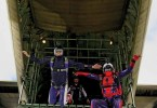 """[Three skydivers jump out of a tailgate plane.] Blue Skies Magazine i112: April 2019 