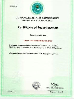 Top Up And Get Reward CAC Certificate