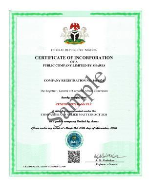 E-Certificate for Company
