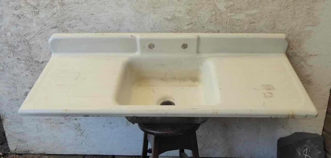 ic0797 antique cast iron porcelain sink