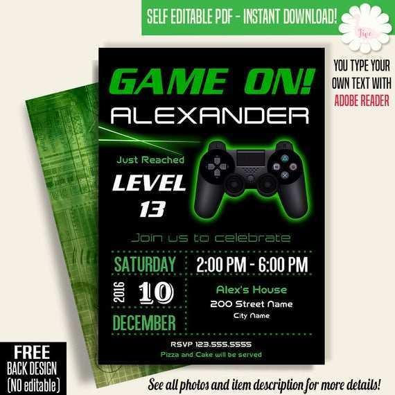 video game birthday invitation template