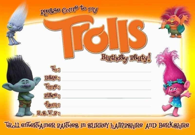 54 Report Trolls Birthday Invitation Template Psd File With Trolls Birthday Invitation Template Cards Design Templates