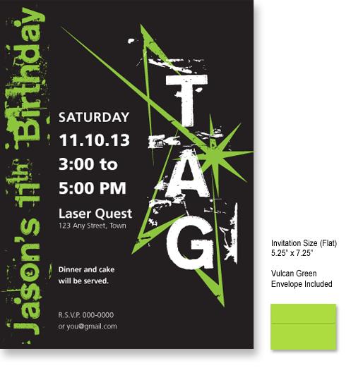laser tag birthday invitation template