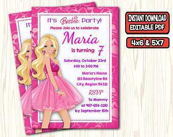 with barbie invitation template blank