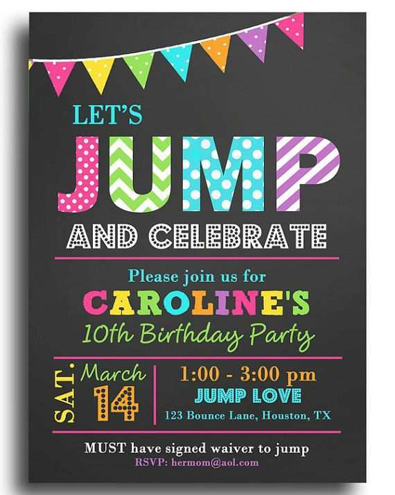 15 Free Printable Trampoline Birthday Party Invitation Template For Ms Word With Trampoline Birthday Party Invitation Template Cards Design Templates