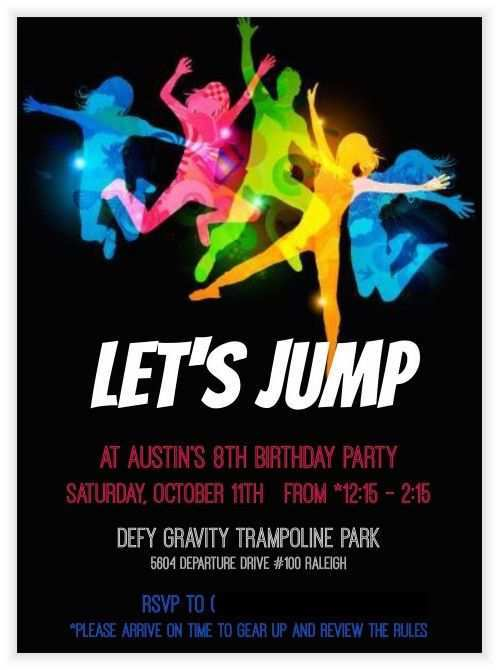 18 Best Trampoline Birthday Party Invitation Template For Free By Trampoline Birthday Party Invitation Template Cards Design Templates