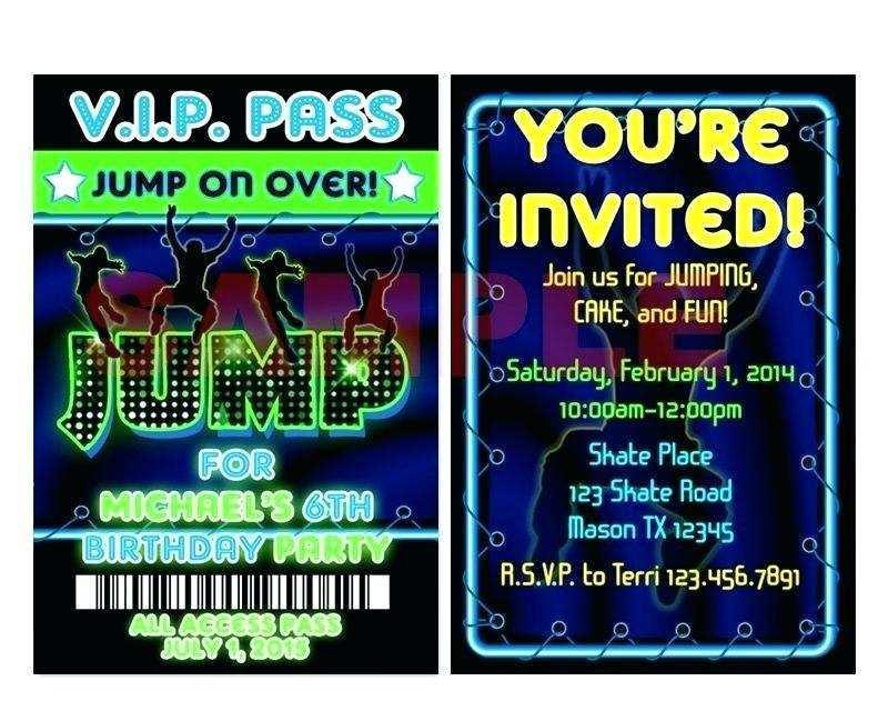 24 Create Trampoline Birthday Party Invitation Template For Free For Trampoline Birthday Party Invitation Template Cards Design Templates