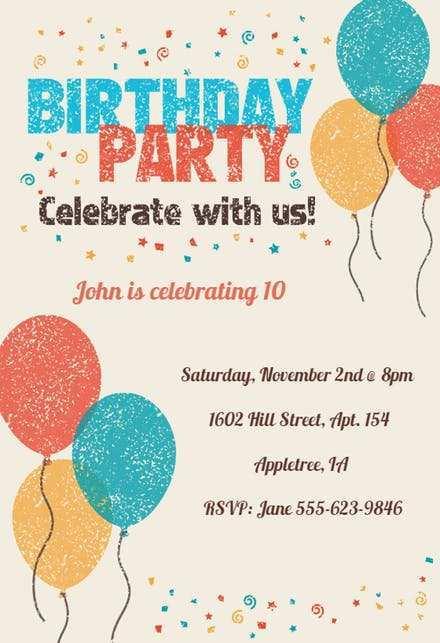 birthday invitation letter format in