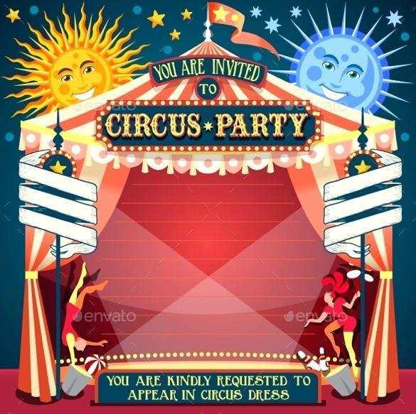 Circus Birthday Invitation Template Free Cards Design Templates