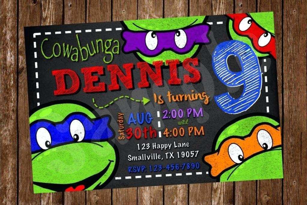 ninja turtle party invitation template